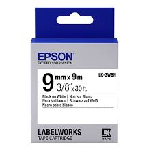 <b>Epson</b> Original <b>LK</b>-3WBN 9mm x 9m Black Text on White Standard ...