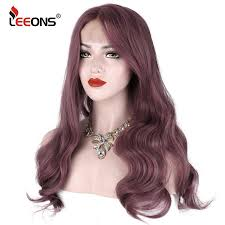 """<b>Leeons</b> 24""""Synthetic Lace Front Wig Wavy <b>Purple Pink</b> Lace Front ..."""