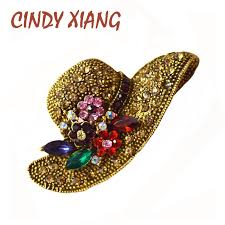 <b>CINDY XIANG 2 Colors</b> Big Hat Rhinestone Brooch Vintage Flower ...