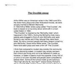 an introduction for the crucible essaythe crucible by arthur miller    essay on the