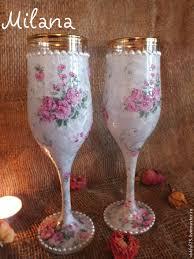 "<b>Фужеры</b> ""Снежные розы"" Декупаж | <b>Wine</b> glass, <b>Champagne</b> flute ..."