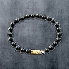 <b>Men's Black Agate</b> & Evil Eye Bracelet - JE11