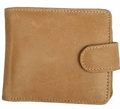 <b>New Men's</b> Light Brown <b>Real Leather</b> Wallet