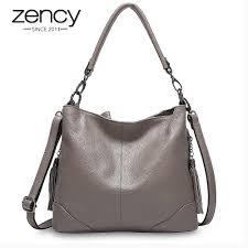 Zency Fashion Grey <b>Women</b> Shoulder Bag <b>100</b>% <b>Genuine Leather</b> ...