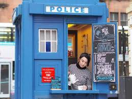 accessories glasgow box: glasgows iconic tardis police box is operating as the citys first zero waste micro cafe
