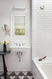 bathroom white tiles: pretty interior bathroom with hexagonal floor tile and white wall