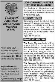 Bio Statistician  amp  Civil Engineer Jobs in Islamabad      at CPSP College of Physicians  amp  Jobs in Pakistan  Karachi  Lahore  Rawalpindi  Islamabad
