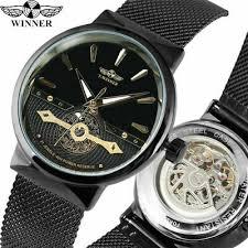 <b>WINNER</b> Ultra Thin <b>Men's</b> Auto Mechanical <b>Watches</b> Mesh Strap ...