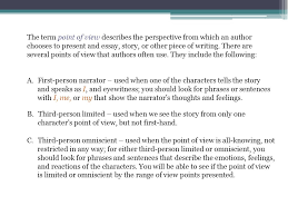 style analysis unit  point of view the term point of view  the term point of view describes the perspective from which an author chooses to present and
