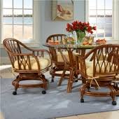 casual dining chairs with casters: rattan dining sets with caster chairs