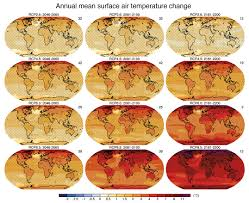 future of climate change climate change science us epa a series of global maps showing different emissions scenarios and different time series 2011 to