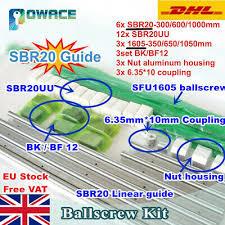【EU】<b>SFU</b> RM1605 Ballscrew with Nut+BK/BF12+SBR20 Linear Rail ...