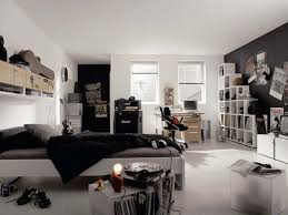 sophisticated bedroom design idea with black and white nuances also smart wall mounted stack bookshelves bedroom design ideas cool