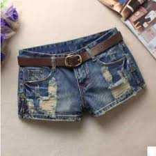 2019 <b>Womens</b> Middle Waist <b>Hole Denim Shorts</b> Spring Summer ...