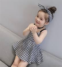 <b>Girls Plaid Dress</b> Cute Toddler Sling Sweet Dress Summer Girls ...