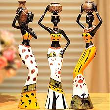 LuvBells™ Set of 3 Exotic Tribal African Girl Resin Figurines...
