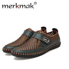 Merkmak <b>Genuine Leather Summer</b> Shoes Men Flats <b>Loafers</b> ...