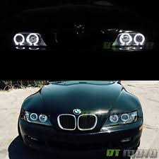black 1996 2002 bmw z3 led dual halo projector clear headlights lamps leftright black bmw z3 1997