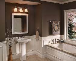 3 lights brushed nickel sconces above bathroom vanity mirror and porcelain pedestal sink large amazing pendant lighting bathroom vanity