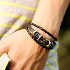 Boy Jewelry <b>Handmade</b> Metal Beaded Bracelets (Color: Black)-buy ...