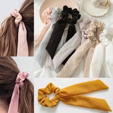 <b>Floral</b> Print <b>Chiffon</b> Scrunchie <b>Elastic Hair</b> Band Bow <b>Hair</b> Ropes ...