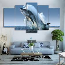 Breaching Great White Shark - <b>5 Piece HD</b> Canvas Wall Art ...