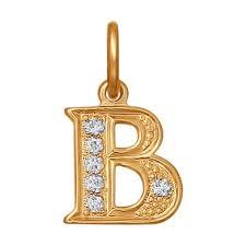Подвеска-<b>буква</b> «В» с фианитами <b>SOKOLOV</b> – купить в ...