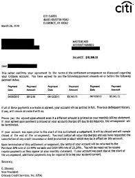 citicards citibank debt settlement letter sample settlement letter
