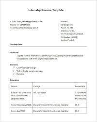summer internship resume template free download sample resume for an internship