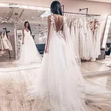 <b>Boho</b> Wedding Dress 2019 Appliqued Floor Length <b>Elegant</b> Tulle A ...