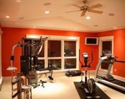 Home gym; energizing colors, out of the way lighting, powerful low ...