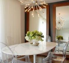 flower arrangements dining room table: contemporary flower arrangements for dining room decoration with oval white table and glass chairs