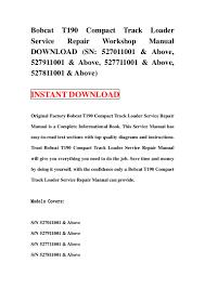 bobcat t190 compact track loader service repair workshop manual downl