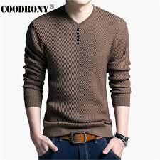 COODRONY Sweater Men <b>Casual V Neck</b> Pullover Men Autumn ...