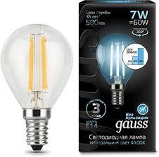 <b>Лампа Gauss</b> LED <b>Filament</b> Шар E14 7W 580lm 4100K step ...