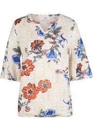 Свободная <b>футболка хенли</b> с красивым рисунком - светло ...