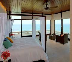 bedroom decorating ideas double facing  wooden ceiling plus nice fan plus double bed facing large window in h