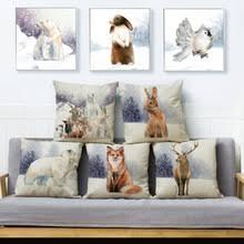 Акварельная краска зимний <b>чехол для подушки с</b> изображением ...