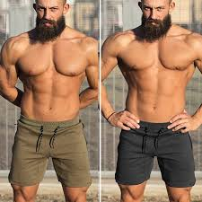 Mens Gym Fitness <b>cotton</b> shorts <b>Run jogging</b> sports bodybuilding ...