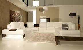 contemporary beige and white themed living room with modern white leather materials u shaped sofa beige furniture