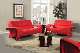 red and black living room set