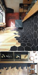 Hexagon Tile Floor Patterns Like The Use Of Tile At The Entry And The Transition To Wood