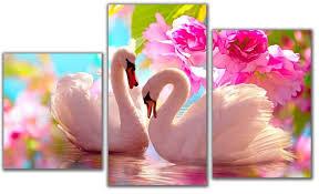 Мини <b>модульная картина</b> Лебеди в цветах <b>Toplight</b> 55х94см <b>TL</b> ...