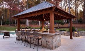 patio outdoor stone kitchen bar: belly up to this poolside bar attached to an outdoor kitchen in great falls va
