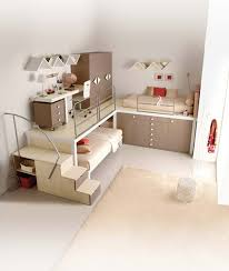 bright white and beige teenager bedroom with space saving idea and pullout bed and white wall bedroom loft furniture