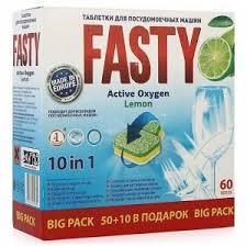 <b>Fasty Таблетки д</b>/посудомоечных машин <b>Лимон</b> 10 в1, 60 шт ...