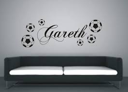 Personalised Football <b>Wall Art</b> Sticker Name Style B, Red Large ...