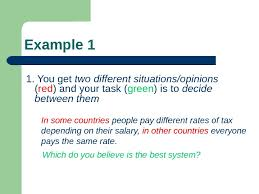 academic writing part  what we shall example   you get two different situationsopinions  red  and your