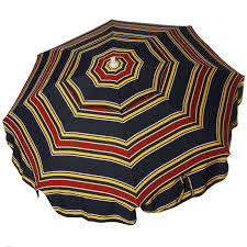 white striped patio umbrella: italian  foot push tilt umbrella acrylic stripes navy blue and red patio pole