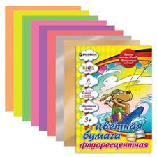 «<b>Цветная бумага</b> флуоресцентная мелованная <b>BRAUBERG</b>, A4 ...